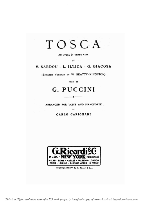 First Additional product image for - Vissi d'Arte, Aria for Soprano. G. Puccini: Tosca,  Vocal Score. Ricordi, Italian.