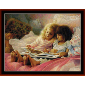 Girls Reading - Vintage Art cross stitch pattern by Cross Stitch Collectibles | Crafting | Cross-Stitch | Wall Hangings
