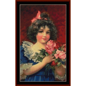girl with pink roses - vintage art cross stitch pattern by cross stitch collectibles