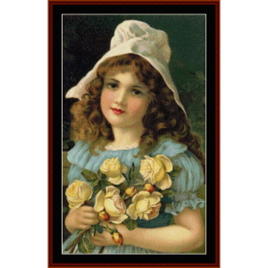 girl with yellow roses - vintage art cross stitch pattern by cross stitch collectibles
