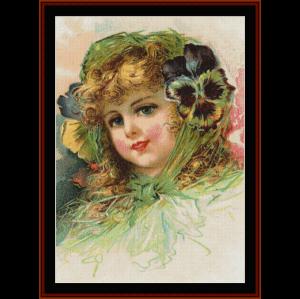 Peony Girl - Vintage Art cross stitch pattern by Cross Stitch Collectibles | Crafting | Cross-Stitch | Wall Hangings