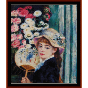 girl with a fan ii - renoir cross stitch pattern by cross stitch collectibles