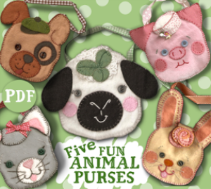 5 felt animal purse pals