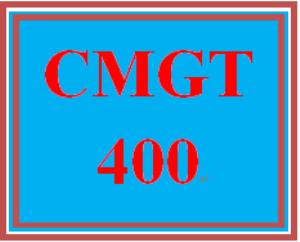 CMGT 400 Entire Course | eBooks | Education
