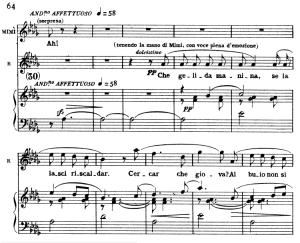 che gelida manina. aria for tenor, g. puccini, la bohème. ed. ricordi. italian.