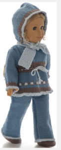 dollknittingpattern 0187d mette - sweater, pants, scarf, cap and shoes-(english)