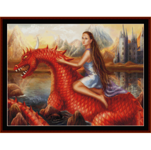 red dragon - fantasy cross stitch pattern by cross stitch collectibles
