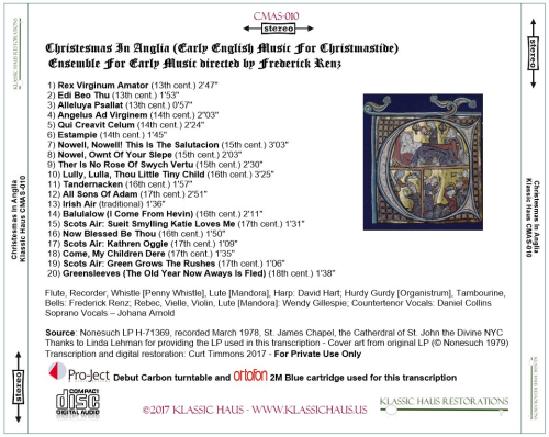 First Additional product image for - Christesmas In Anglia (Early English Music For Christmastide)  Ensemble For Early Music directed by Frederick Renz ?