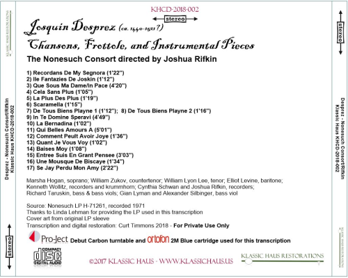 First Additional product image for - Josquin Desprez: Chansons, Frottole, and Instrumental Pieces