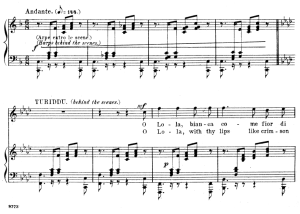 o lola bianca. aria for tenor, p. mascagni: cavalleria rusticana, vocal score, ed. schirmer, 1891. italian/englih