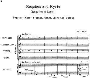 i introit: requiem and kyrie: choir satb and piano, g.verdi requiem, ed. schirmer (1895). vocal score, italian/english