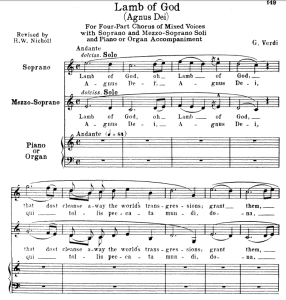 5 agnus dei: soprano, mezzo, choir satb and piano. g.verdi requiem ed. schirmer (1895). vocal score, italian/english