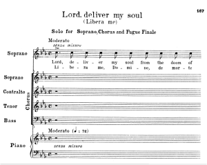 7 libera me. for soprano solo an satb choir. g.verdi requiem ed. schirmer (1895). vocal score, italian/english