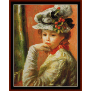girl in white hat - renoir cross stitch pattern by cross stitch collectibles