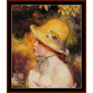 girl in straw hat - renoir cross stitch pattern by cross stitch collectibles