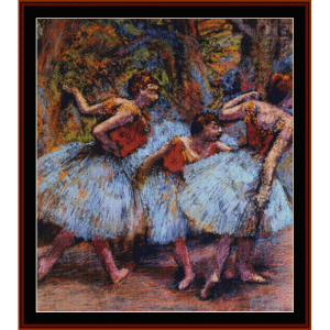 three dancers, blue skirts - degas cross stitch pattern by cross stitch collectibles