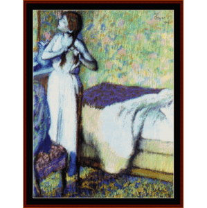 Young Girl Braiding Hair - Degas cross stitch pattern by Cross Stitch Collectibles | Crafting | Cross-Stitch | Wall Hangings