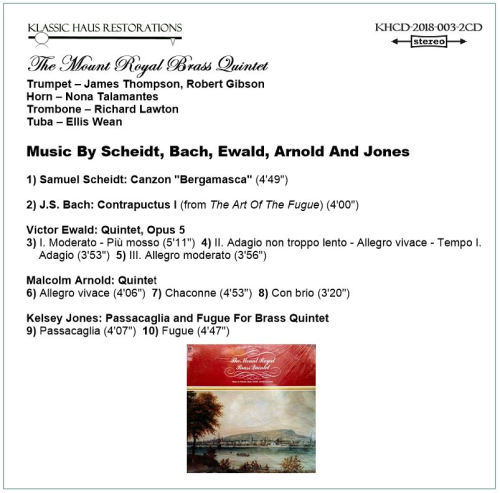 Second Additional product image for - The Mount Royal Brass Quintet - 2-CD Set