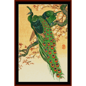 peacock and peahen - asian art cross stitch pattern by cross stitch collectibles