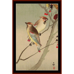 Japanese Waxwings - Asian Art cross stitch pattern by Cross Stitch Collectibles | Crafting | Cross-Stitch | Wall Hangings