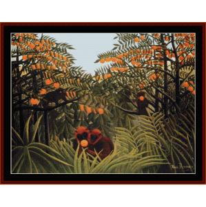 apes in the orange grove - rousseau cross stitch pattern by cross stitch collectibles