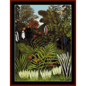 exotic landscape - rousseau cross stitch pattern by cross stitch collectibles