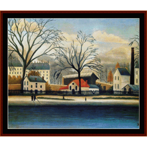 suburban scenery - rousseeau cross stitch pattern by cross stitch collectibles