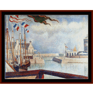 Sunday at Port Bessin, 1888 - Seurat cross stitch pattern by Cross Stitch Collectibles | Crafting | Cross-Stitch | Wall Hangings