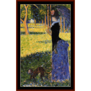 Woman with a Monkey, 1884 - Seurat cross stitch pattern by Cross Stitch Collectibles | Crafting | Cross-Stitch | Wall Hangings