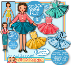 "Betsy McCall Cloth Doll 16 inch with huge wardrobe (8"" bonus doll too!) 