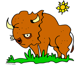 Colored Buffalo Illustration | Photos and Images | Animals