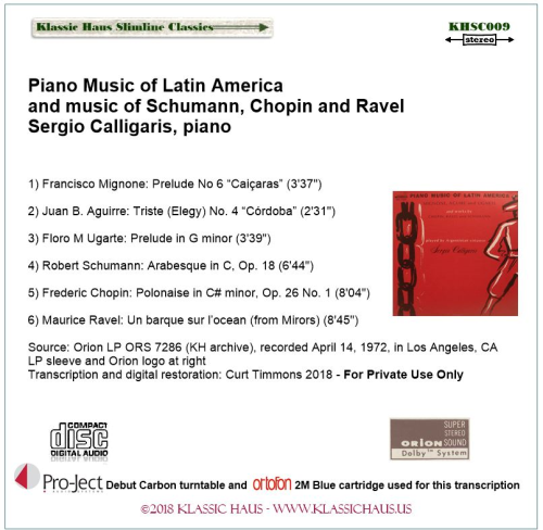 First Additional product image for - Piano Music of Latin America and music of Schumann, Chopin and Ravel - Sergio Calligaris, piano