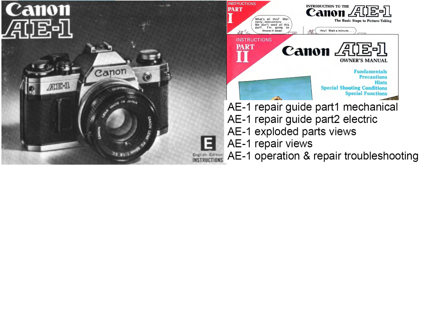Canon AE-1 35mm Camera Repair Manuals and Instruction Manuals