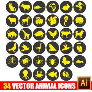 34 animal icon in vector+bonus