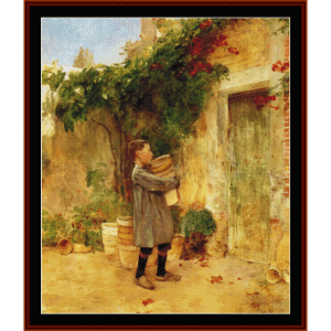 boy with flower pots - childe-hassam cross stitch patterns by cross stitch collectibles