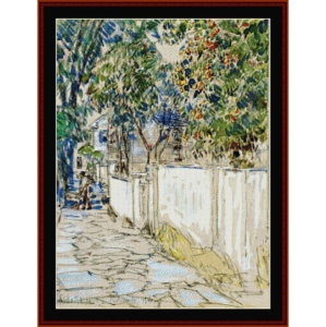 flagstone sidewalk - childe-hassam cross stitch pattern by cross stitch collectibles