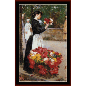 Flower Girl - Childe-Hassam cross stitch pattern by Cross Stitch Collectibles | Crafting | Cross-Stitch | Wall Hangings