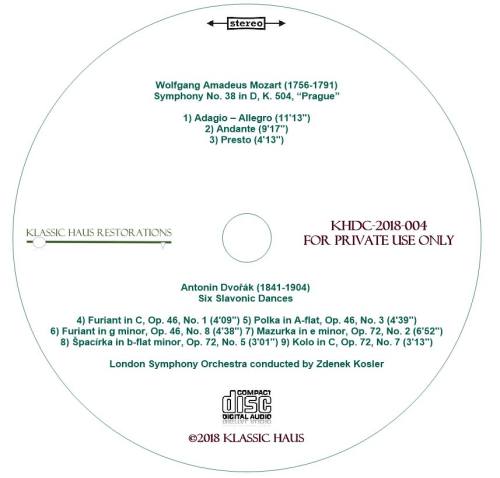 """Second Additional product image for - Mozart: Symphony No. 38 """"Prague""""/Dvorák: Six Slavonic Dances - London Symphony Orchestra/Zdenek Kosler"""