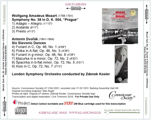 "First Additional product image for - Mozart: Symphony No. 38 ""Prague""/Dvorák: Six Slavonic Dances - London Symphony Orchestra/Zdenek Kosler"