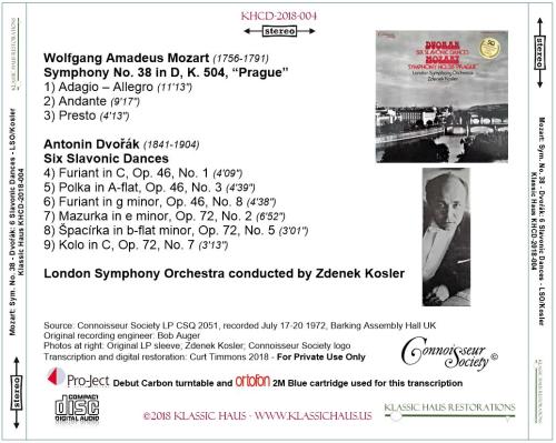"""First Additional product image for - Mozart: Symphony No. 38 """"Prague""""/Dvorák: Six Slavonic Dances - London Symphony Orchestra/Zdenek Kosler"""