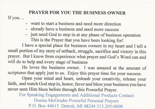 Second Additional product image for - Business Owner Prayer