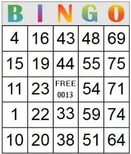 Bingo Card 13 | Photos and Images | Entertainment