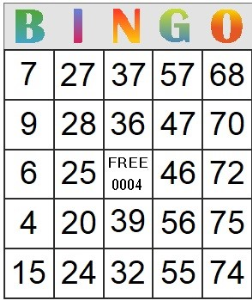 Bingo Card 4 | Photos and Images | Entertainment