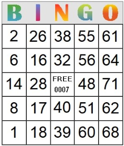 Bingo Card 7 | Photos and Images | Entertainment