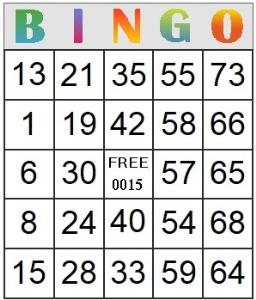 bingo card 15
