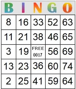 Bingo Card 17 | Photos and Images | Entertainment