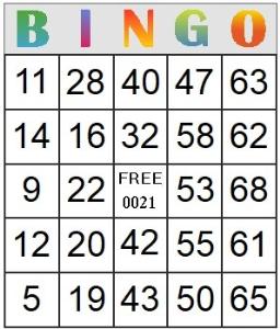 Bingo Card 21 | Photos and Images | Entertainment