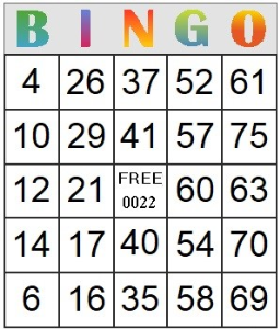 Bingo Card 22 | Photos and Images | Entertainment