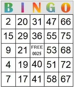 Bingo Card 25 | Photos and Images | Entertainment