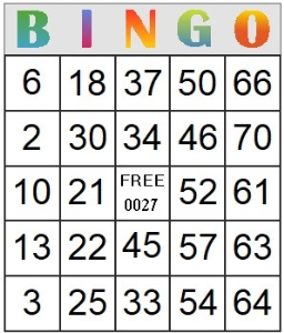 Bingo Card 27 | Photos and Images | Entertainment